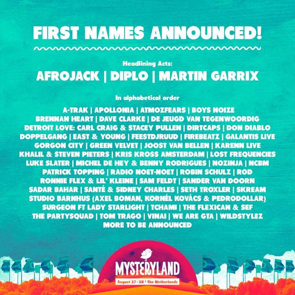 line up mysteryland 2016